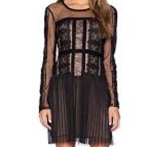BCBGMAXAZRIA Lace Blocked Long Sleeve Dress